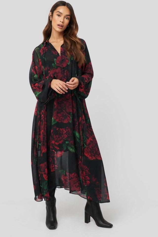 Drawstring Chiffon Midi Dress Look