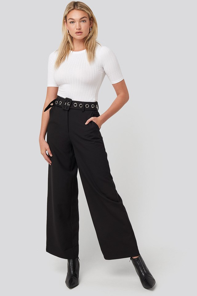 Big Eyelet Wide Suit Pants Black Outfit.