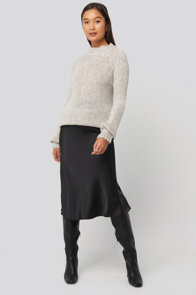 Bike Collar Knitted Sweater Outfit