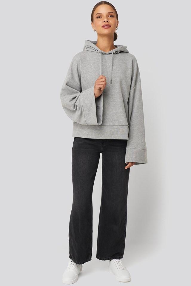 Flare Sleeve Hoodie Grey Outfit.