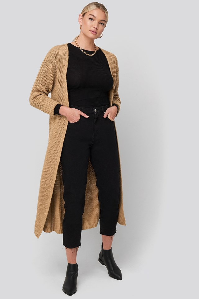 Turn Up Cuff Open Front Cardigan Beige Outfit.