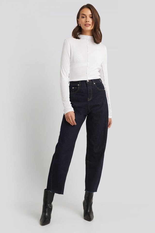 Mock Neck Exposed Seam Top Outfit