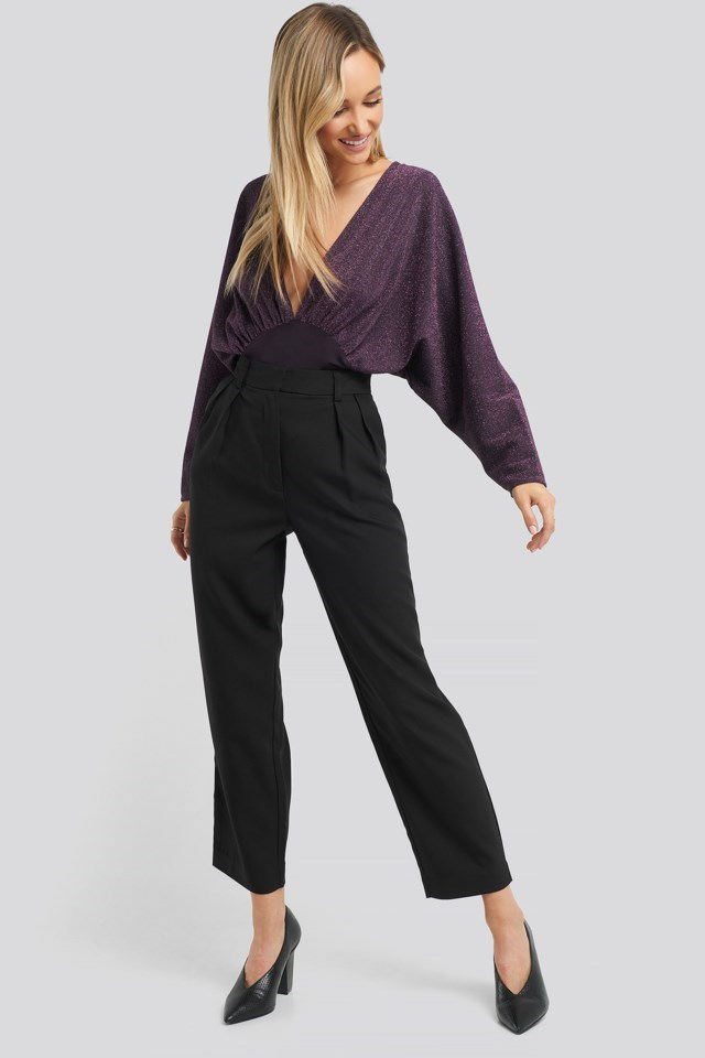 Open Back Plunge Neck Lurex Bodysuit Outfit