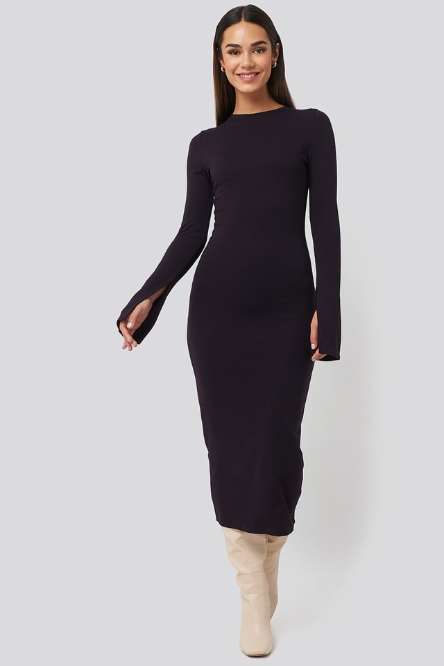 Split Sleeve Jersey Midi Dress Purple Outfit