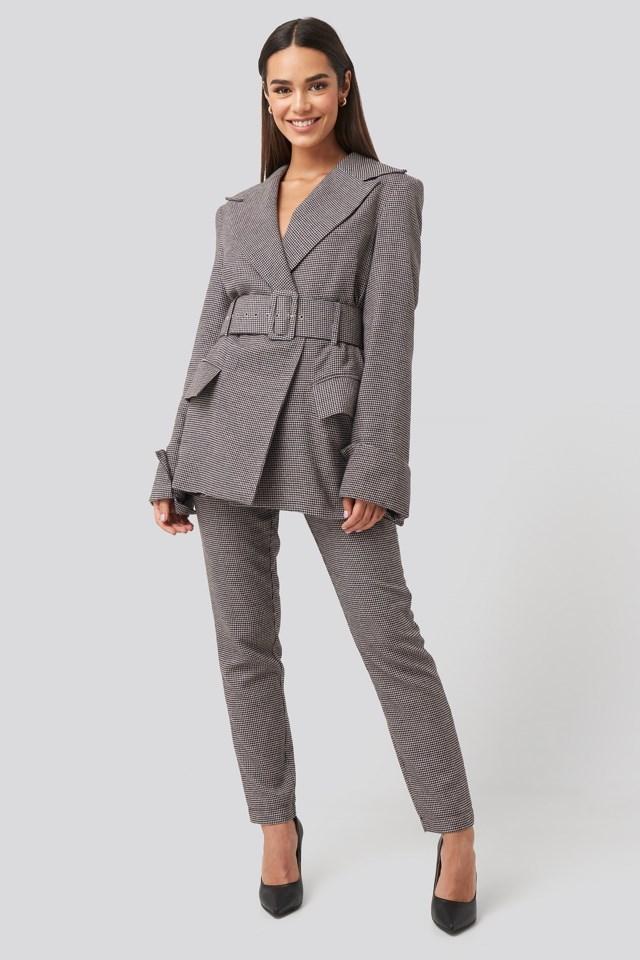 Petite Check Big Shoulder Blazer Outfit