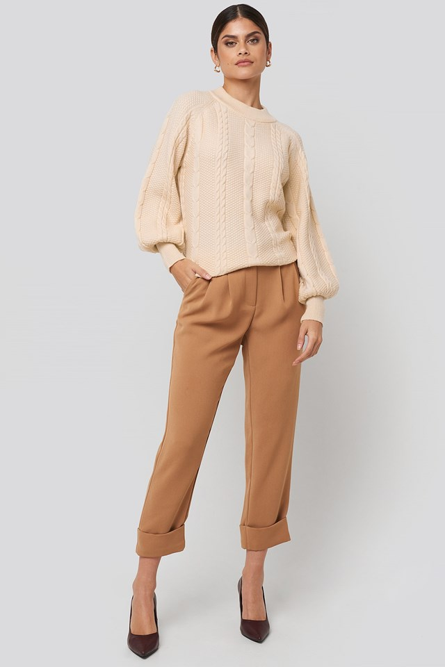 Balloon Sleeve Cable Knitted Sweater Outfit