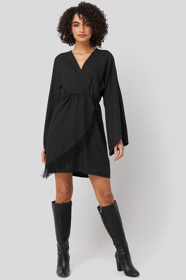 Mini Tasseled Dress Black Outfit