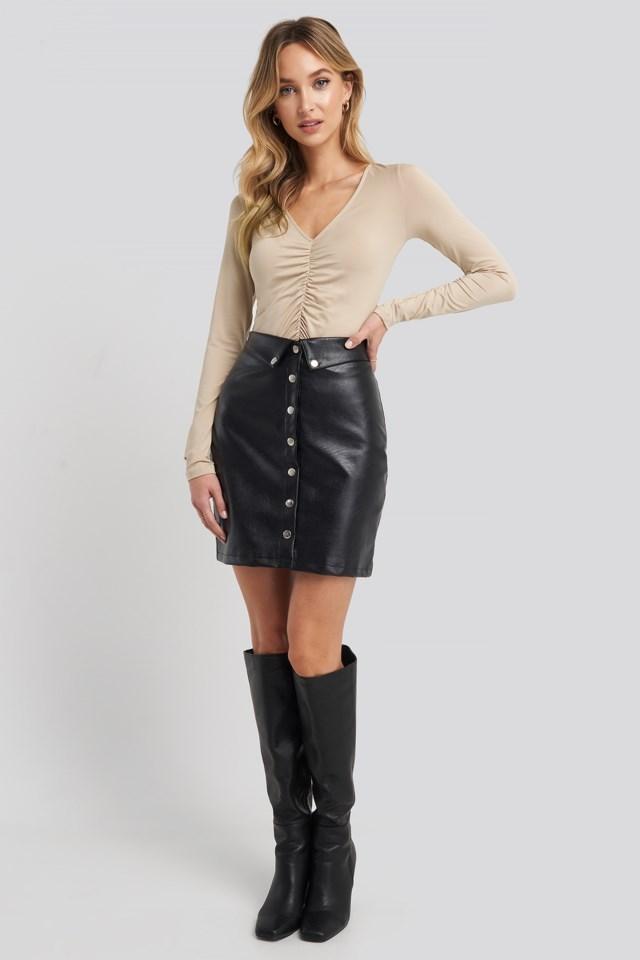 Button Up Pu Skirt Look
