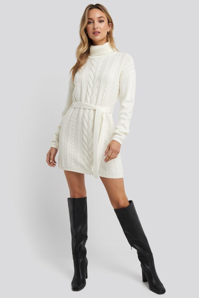 Cable Knit Detail Dress Look