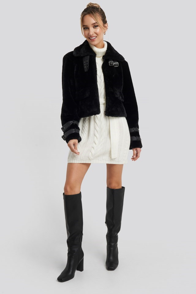 Faux Fur Cropped Jacket Look