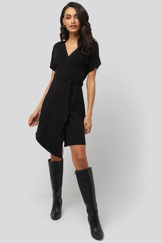 Overlap Jersey Dress Black Outfit