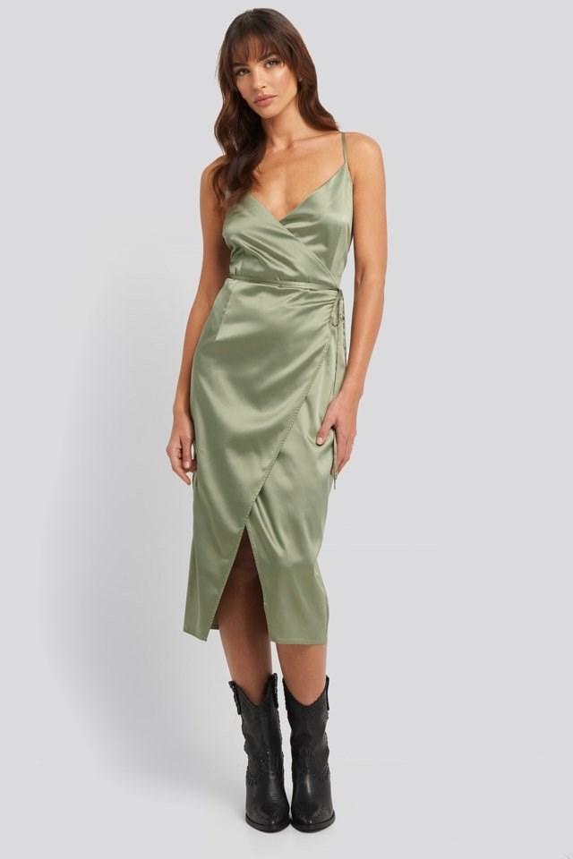 Cross Back Wrap Midi Dress Outfit.