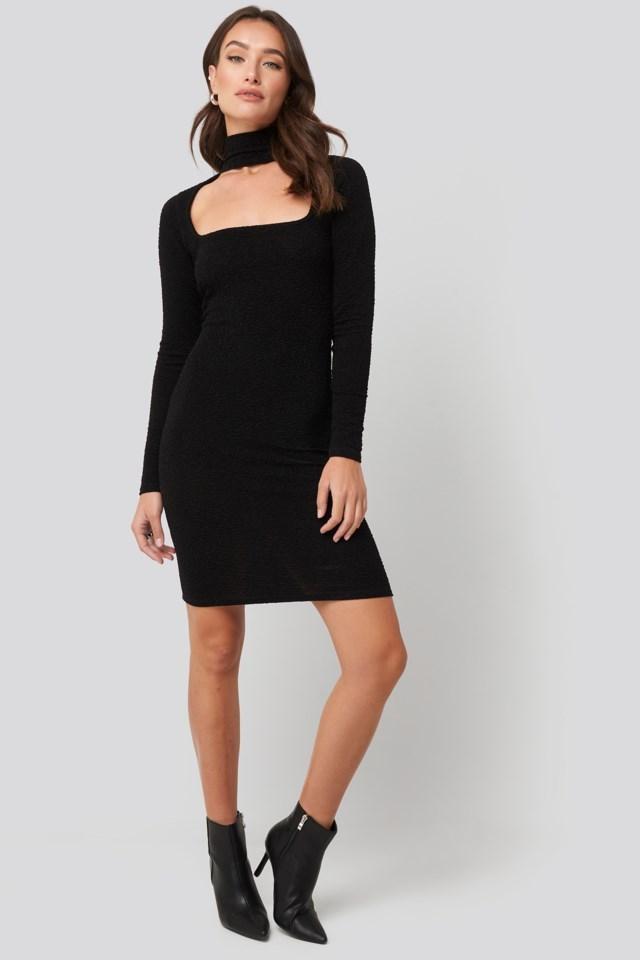 Cut Out Lurex Mini Dress Outfit.