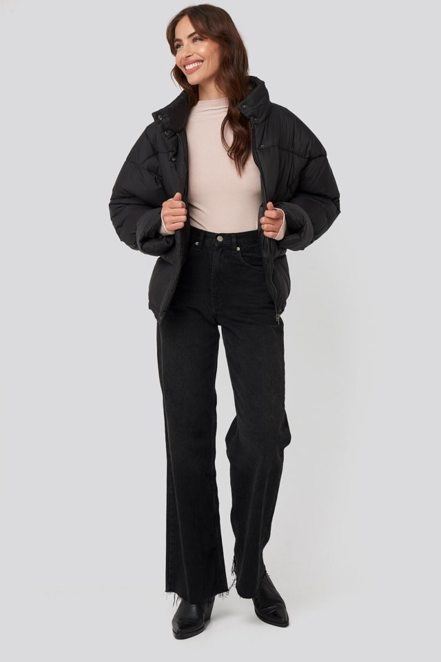 Elastic Detail Puffer Jacket Black Outfit