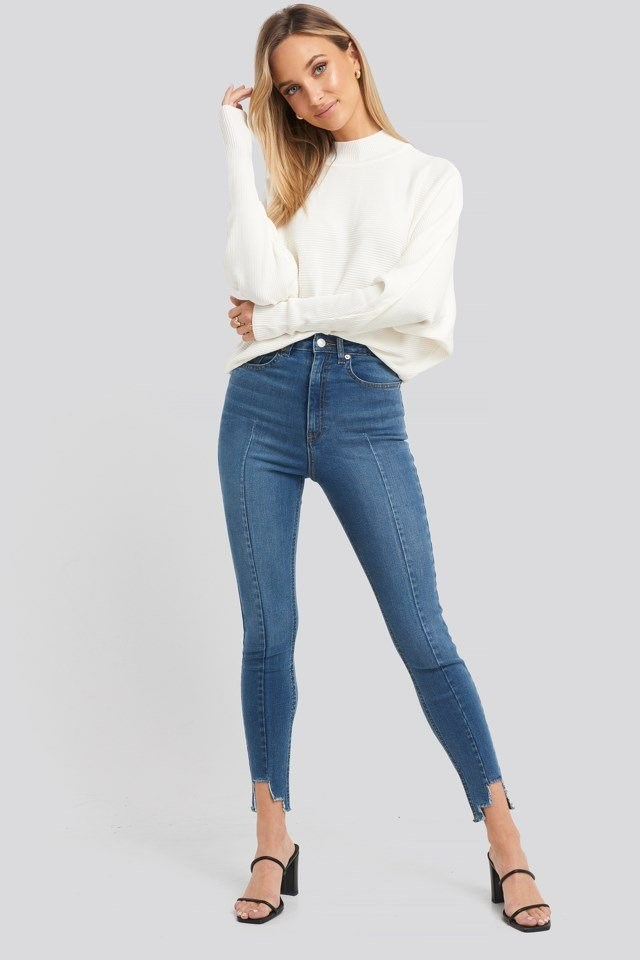 Super High Waist Asymmetrical Hem Jeans Blue Outfit