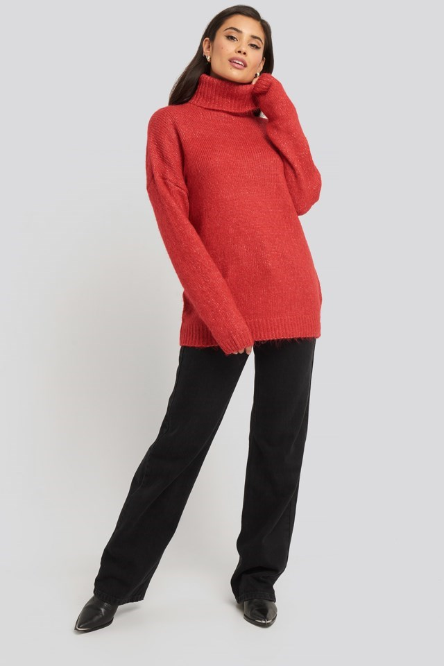 Folded Oversized Knitted Sweater Look