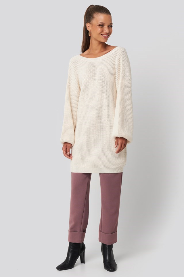 Deep V Back Long Knitted Sweater Look