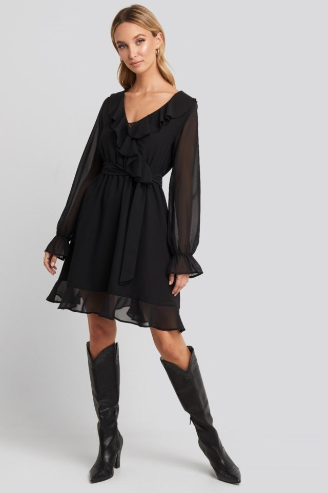 Flounce Chiffon Mini Dress Black Outfit