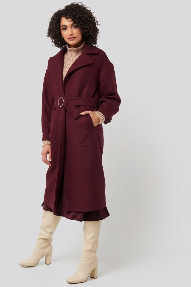 Ring Buckle Belt Detailed Long Coat Outfit