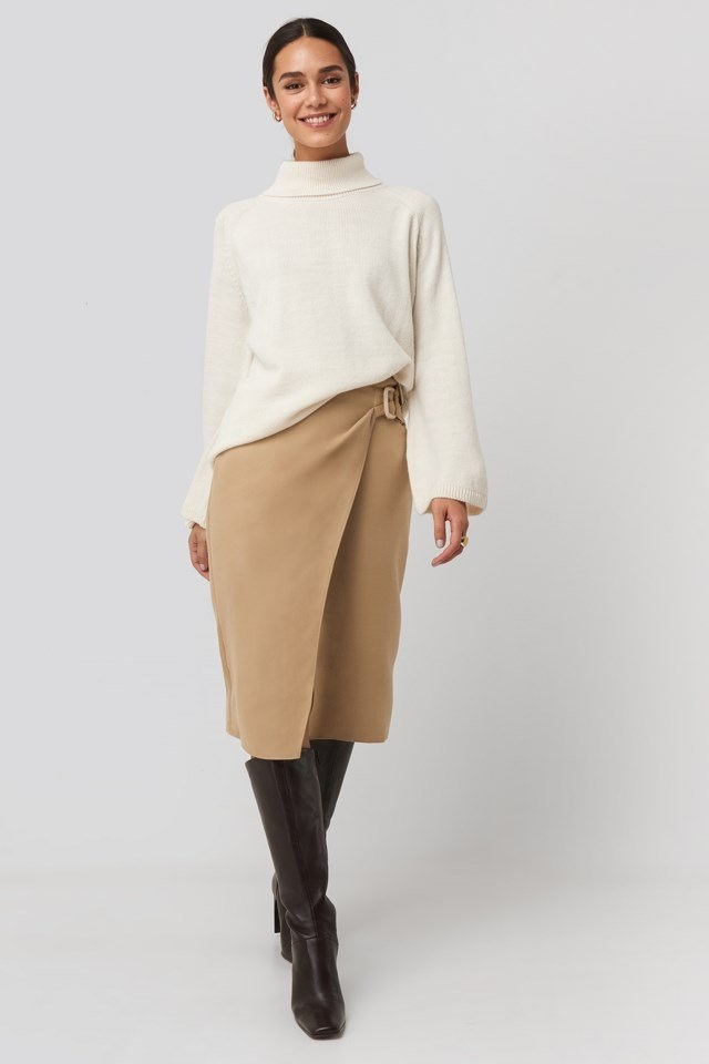 Cream Belt Detailed Skirt Beige Outfit