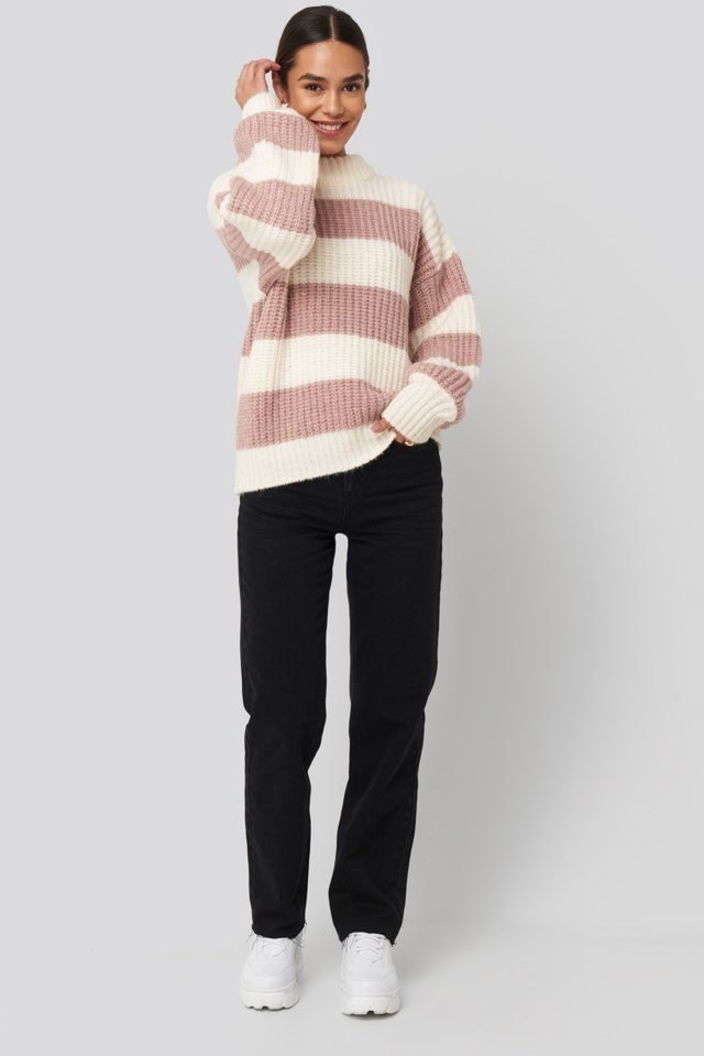 Striped Oversized Knitted Sweater White Outfit