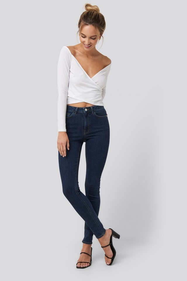Bardot Wrap Front Crop Top Outfit