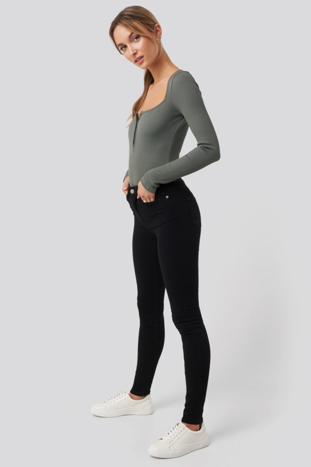 Long Sleeve Button Detail Bodysuit Outfit