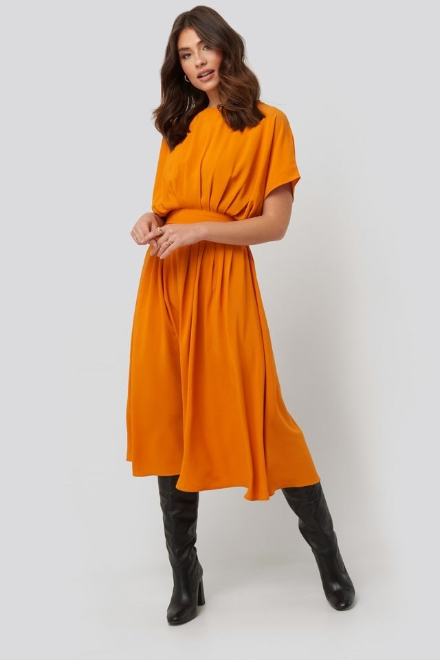Marked Waist Dress Orange Outfit