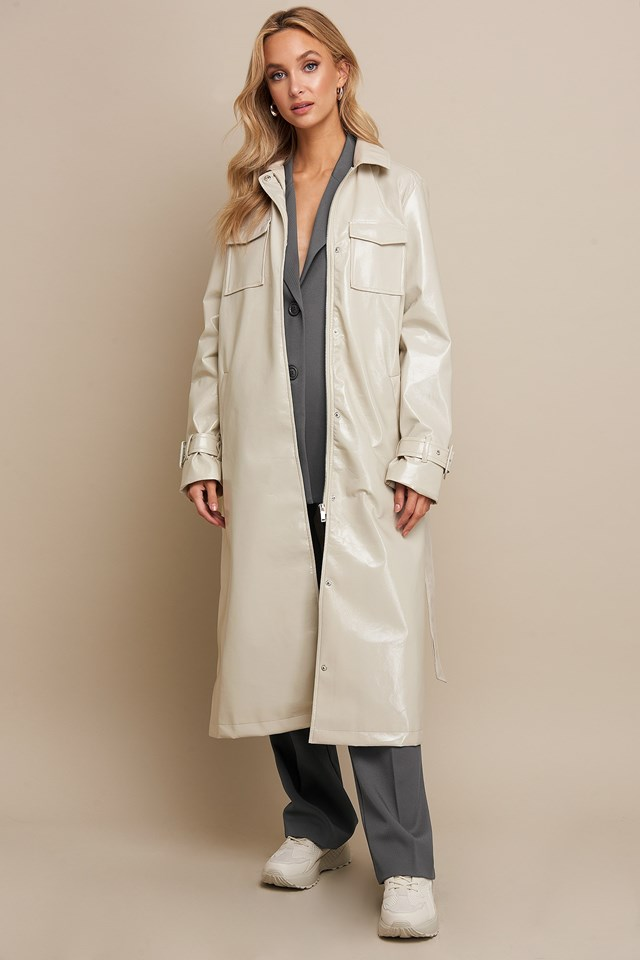 Patent Long Jacket Beige Outfit
