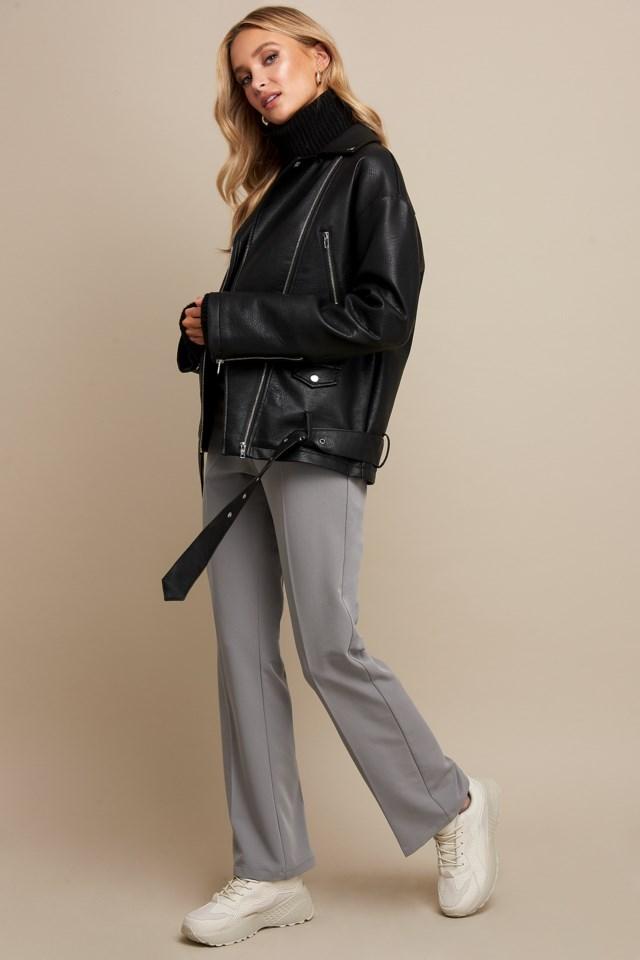 PU Oversized Jacket Black Outfit