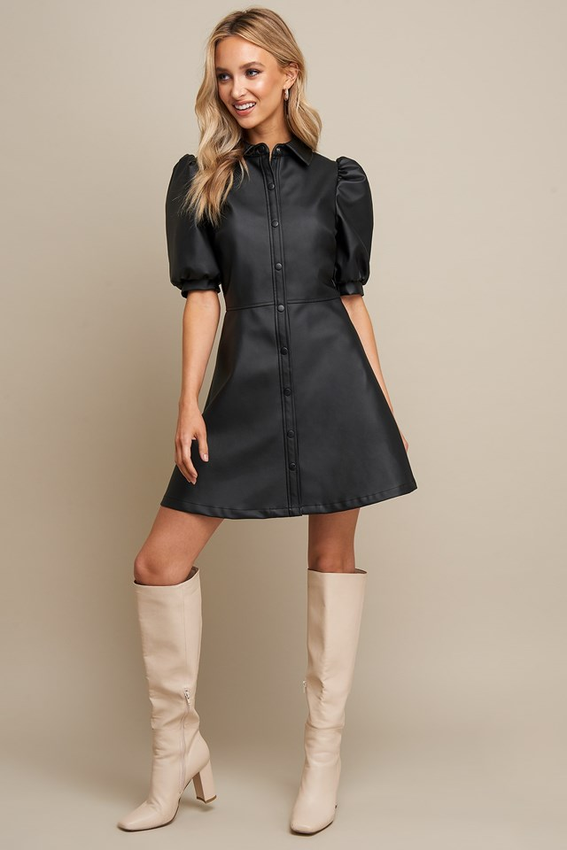 Puff Sleeve Button Dress Black Outfit
