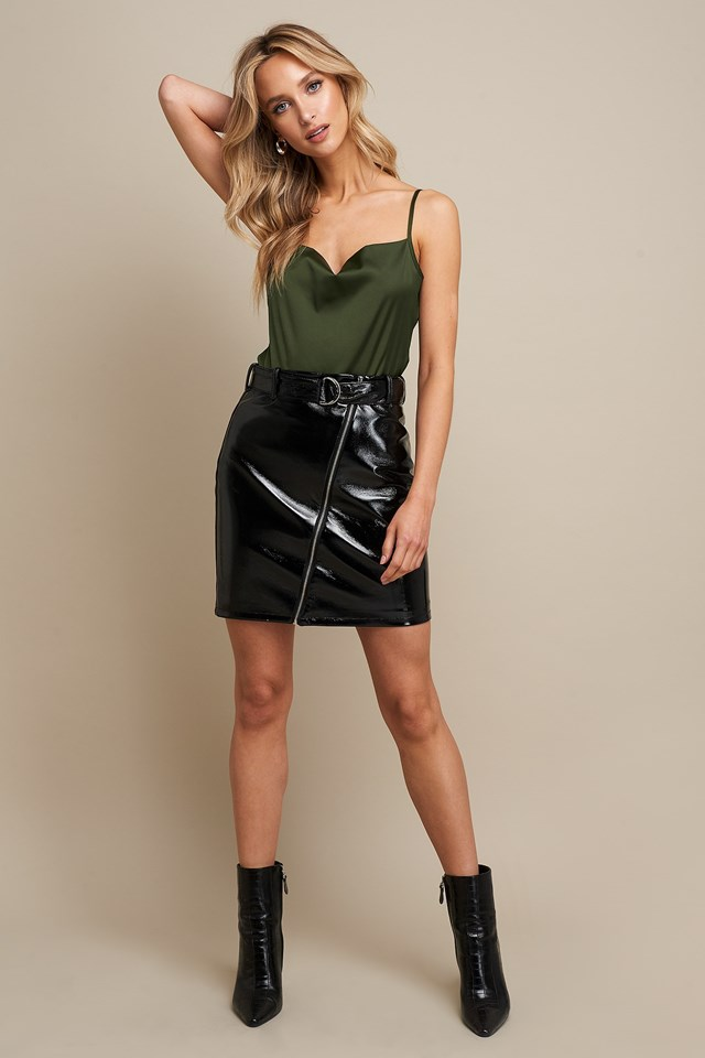Waterfall Satin Singlet Green Outfit