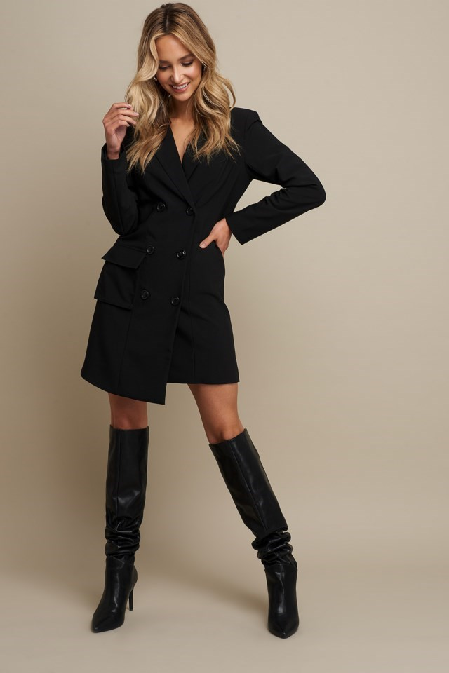 Double Breasted Pocket Blazer Dress Black Outfit