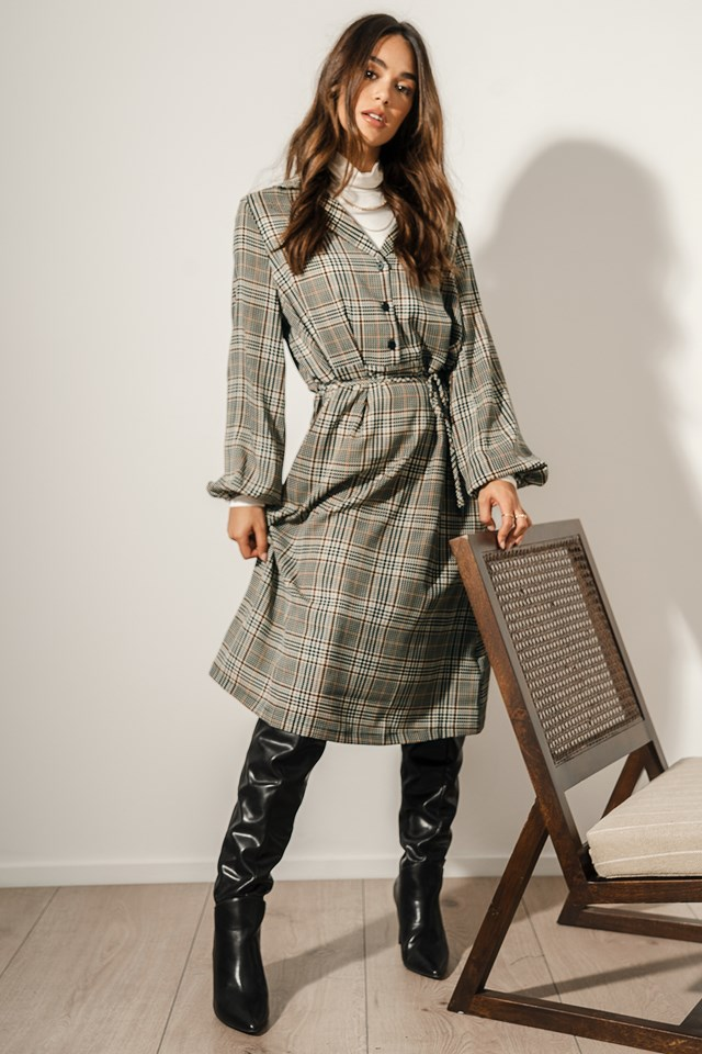 Checked Shirt Dress Outfit.
