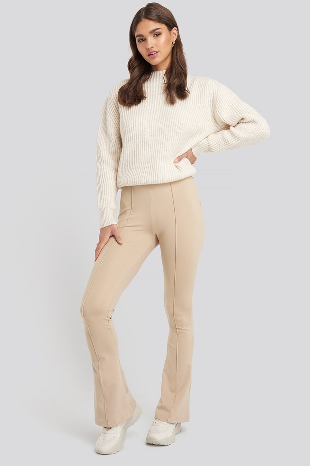 Exposed Seam Flare Leggings Beige Outfit