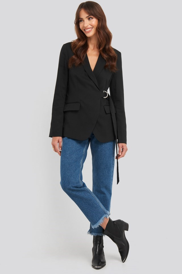 Asymmetric D-ring Belted Blazer Outfit
