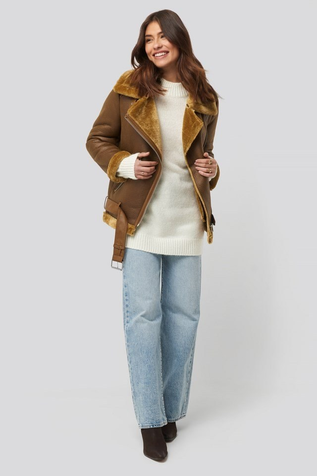 Bonded Aviator Jacket Brown Outfit