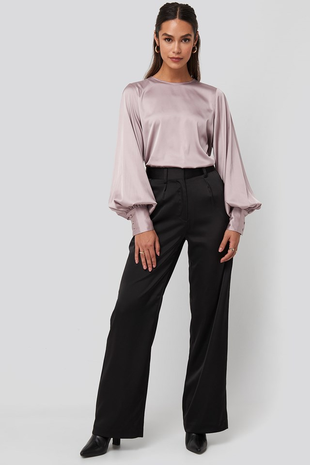Balloon Sleeve Satin Blouse Pink Outfit