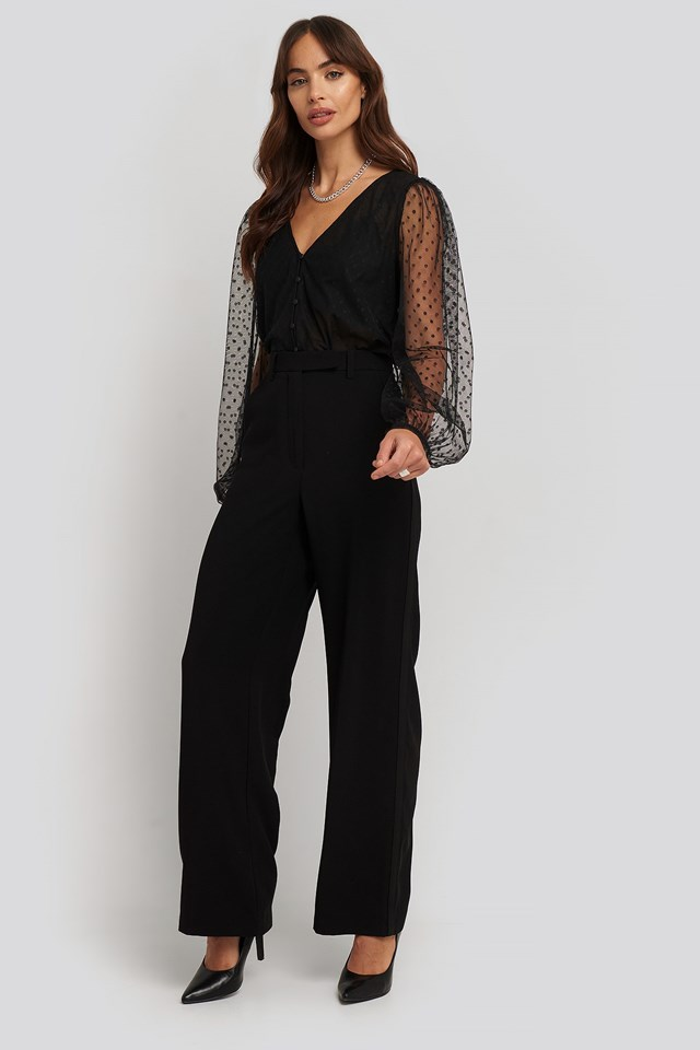 Dot Tulle Blouse Black Outfit