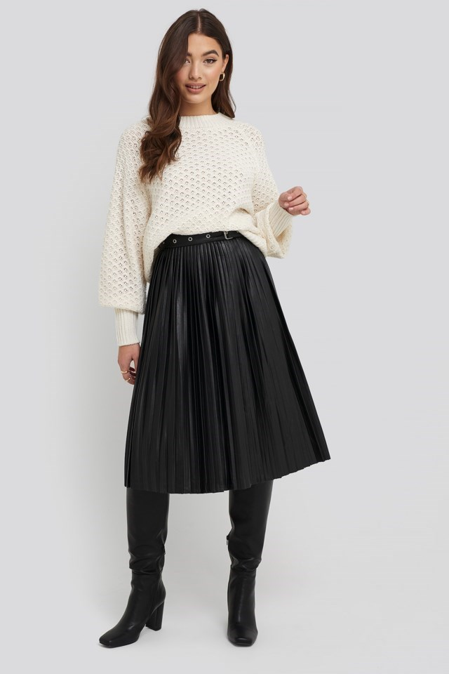 Batwing Knitted Sweater Outfit.