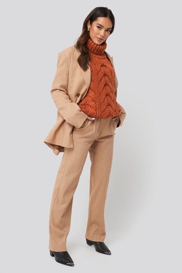Wool Blend High Neck Heavy Cable Knitted Sweater Outfit