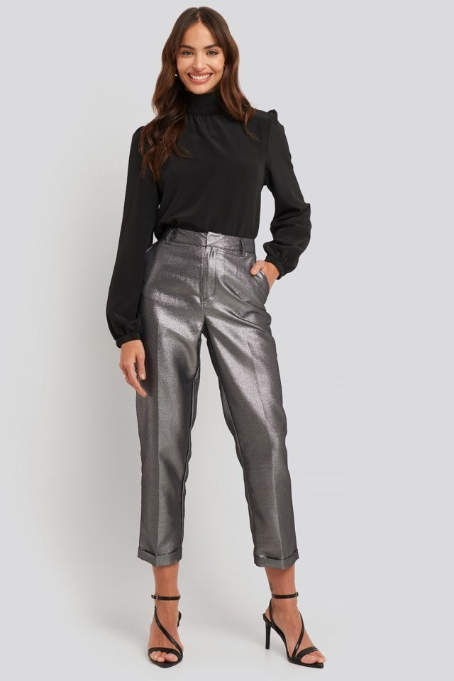 Glitter Cigarette Pant Black Outfit