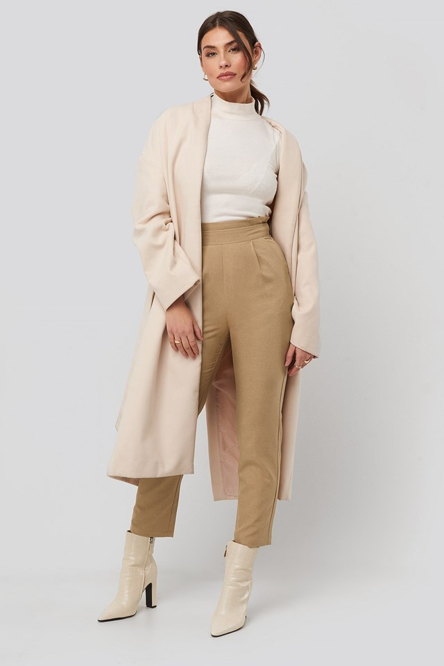 High Waist Straight Pants Beige Outfit