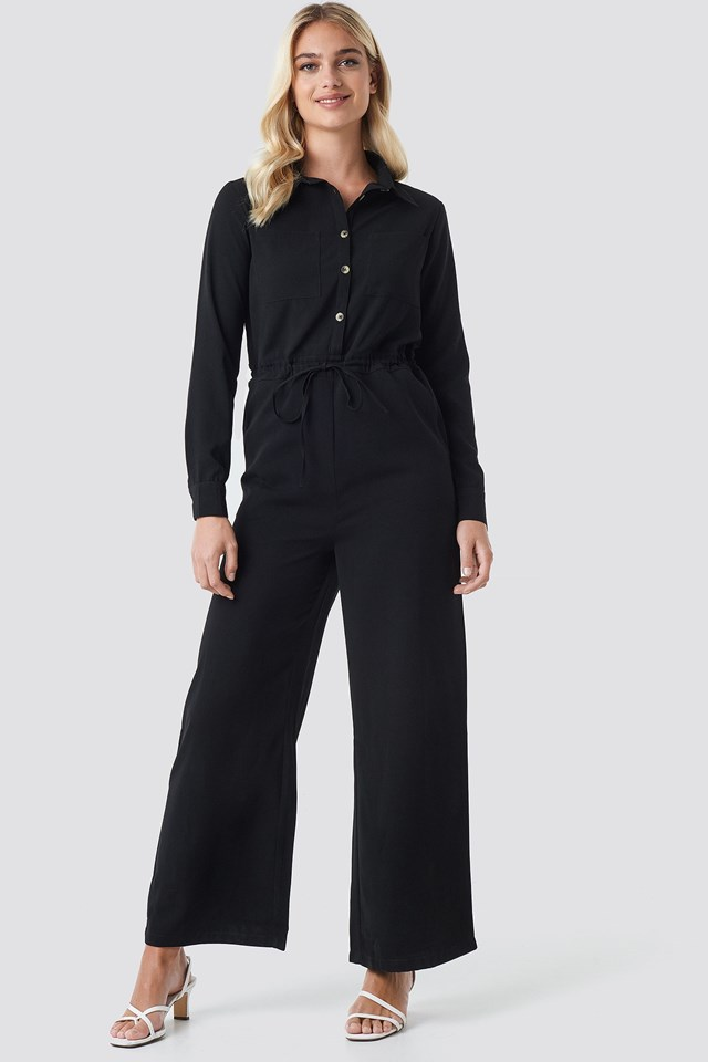 Wide Drawstring Jumpsuit Outfit
