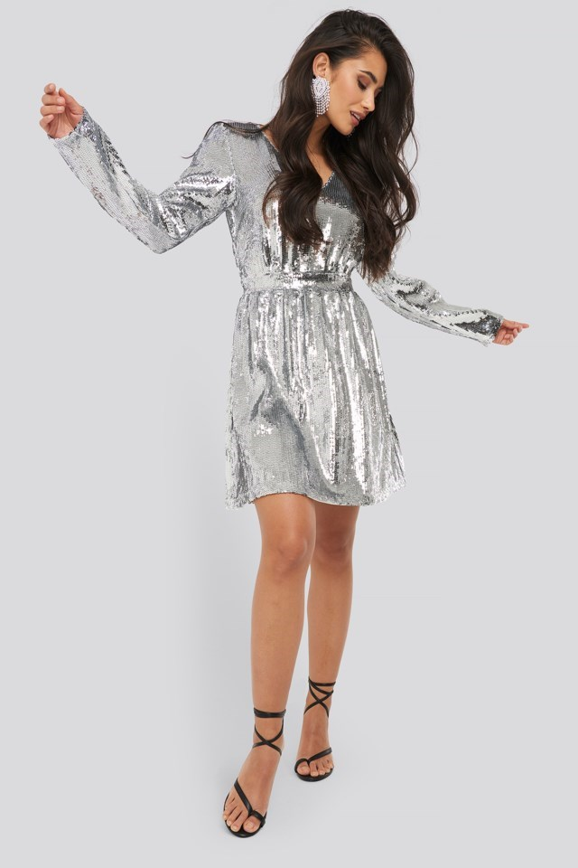 Heavy Long Sleeve Sequin Dress Outfit