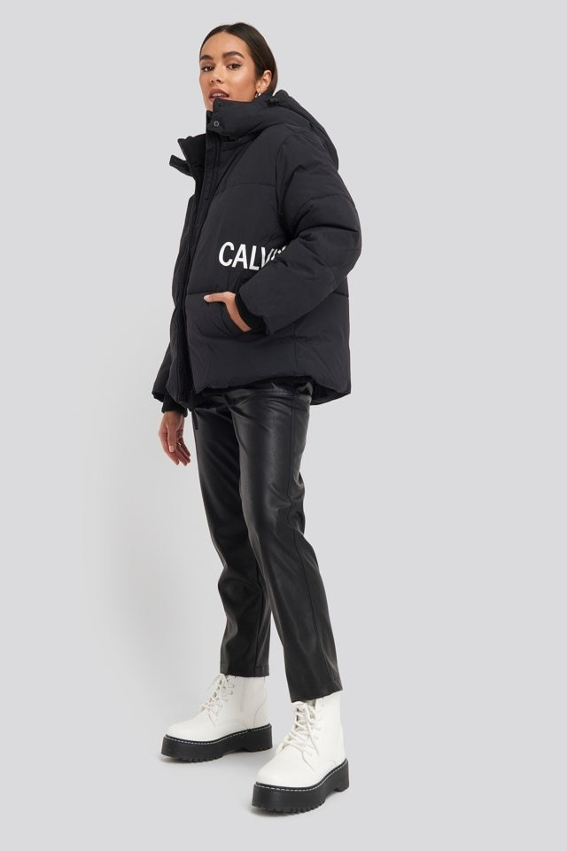 Oversized Logo Puffer Jacket Outfit