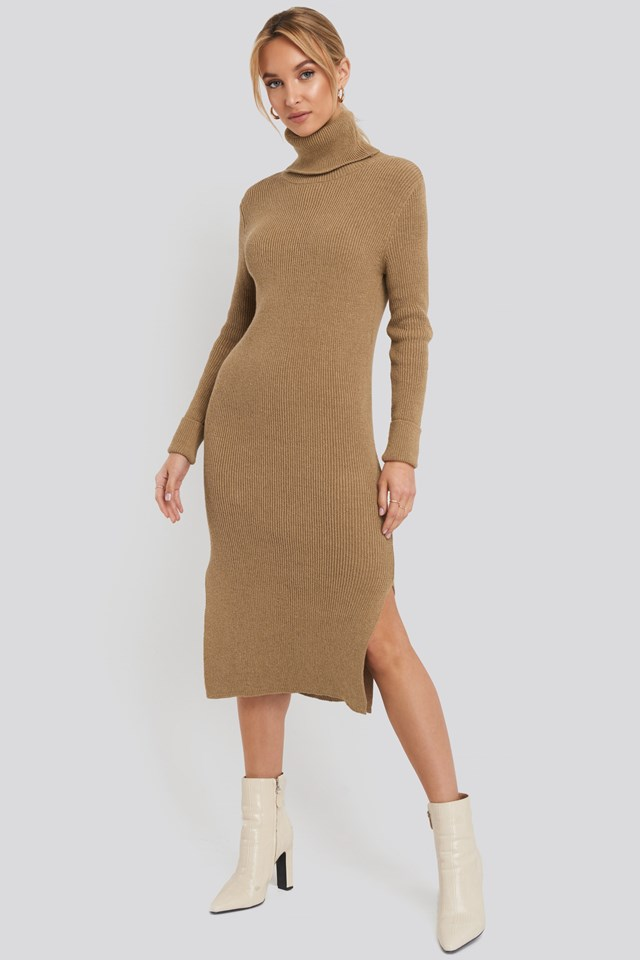 Recycled Turtle Neck Split Hem Sweater Dress Beige Outfit