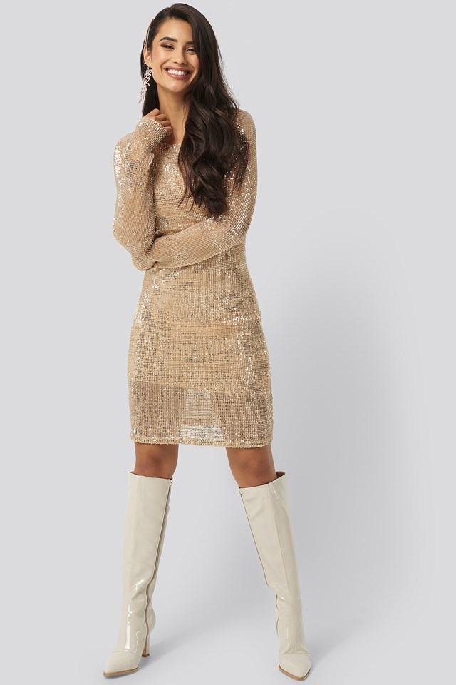 Sequin Round Neck Mini Dress Gold Outfit
