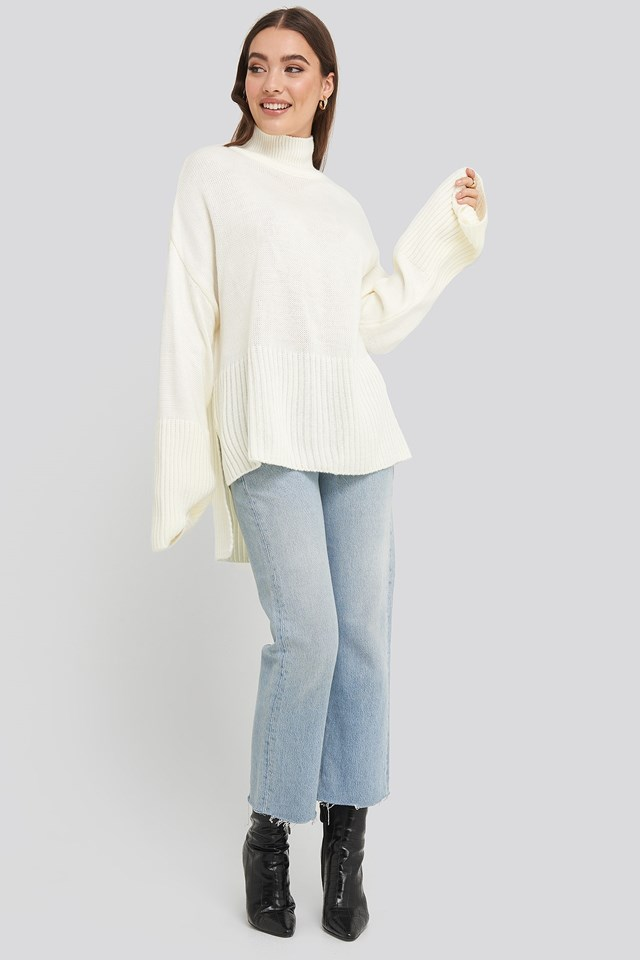 Vertical Neck Sweater White Outfit