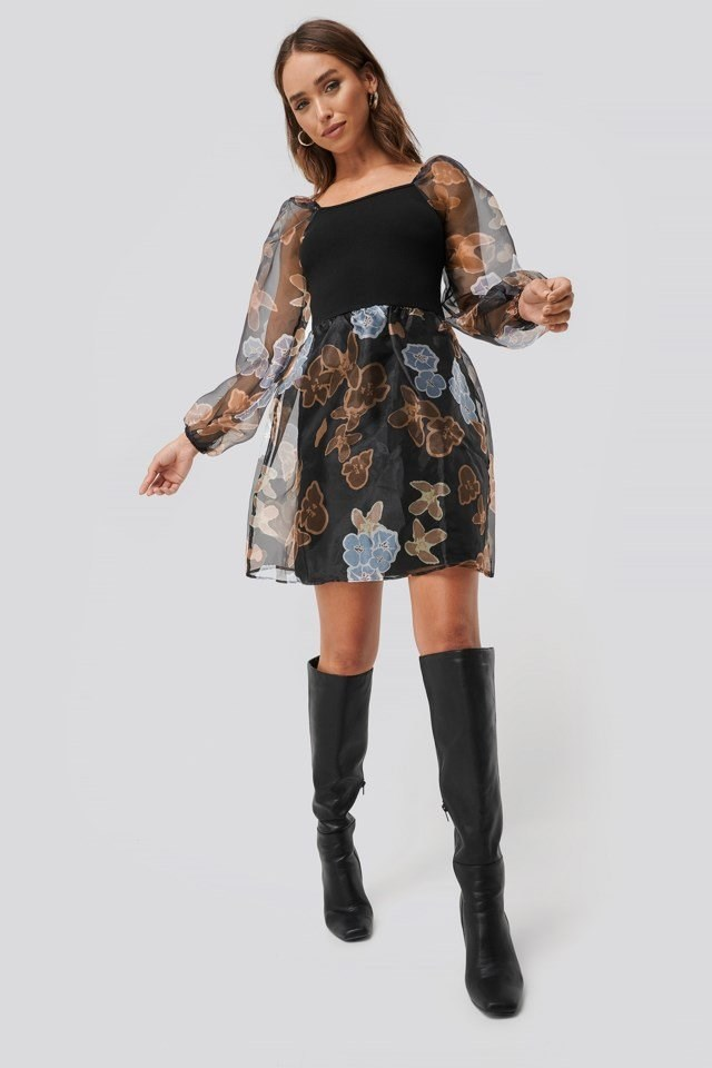 Organza Detail Dress Multicolor Outfit